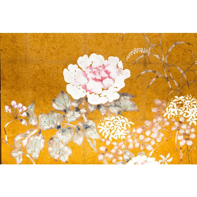 "Lawrence & Scott Japanese Style ""Summer Garden"" Four-Panel Gold Foil Original Painting Hanging Screen For Sale In Seattle - Image 6 of 9"