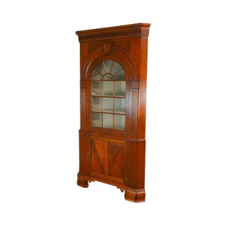 Kendl Monn Irion Co. Chippendale Style Large Walnut 2 Piece Corner Cabinet For Sale