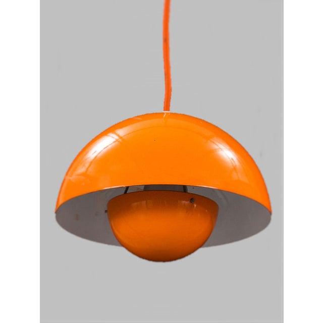 Mid-Century Modern Mid-Century Modern Verner Panton Enamel Flowerpot Pendant Lights for Louis Poulsen, Denmark - a Pair For Sale - Image 3 of 5