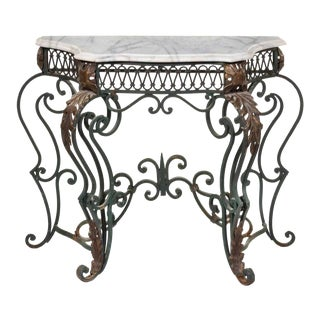 1920s Art Nouveau Painted Cast Metal and Marble Topped Console Table For Sale