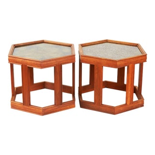 Pair of Brown Saltman Walnut End Tables For Sale