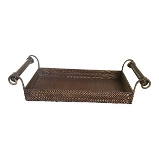Rattan Tray With Handles For Sale