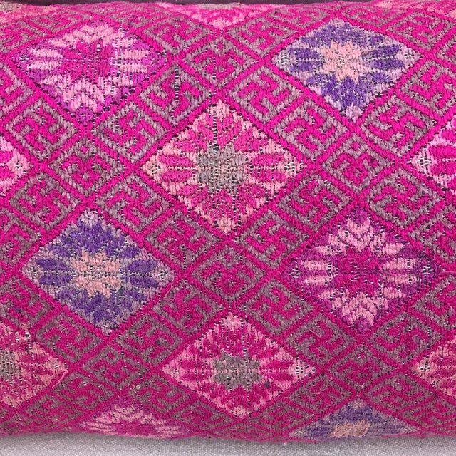 Contemporary Pink Woven Tribal Pillows-Hmong - A Pair For Sale - Image 3 of 6