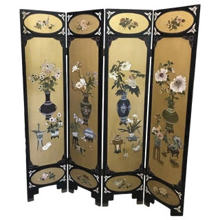 Art Deco Gilt and Lacquered Chinese Coromandel Screen For Sale