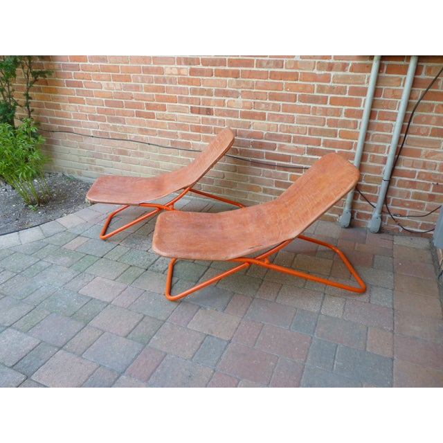 Boho Chic Modern Leather Lounge Chairs - a Pair For Sale - Image 3 of 8