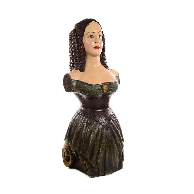 Wood Antique Carved Wood & Painted Ship Figurehead of a Maiden For Sale - Image 7 of 10