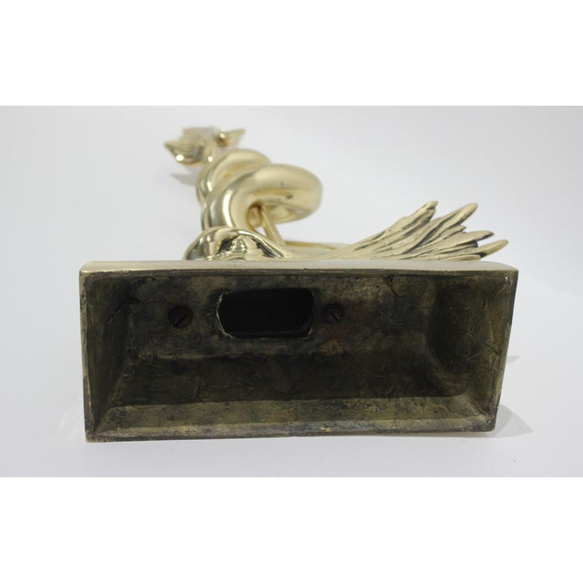 Brass English Regency 1820s Doorstop Dolphin and Trident in Brass Polished and Lacquered For Sale - Image 8 of 10