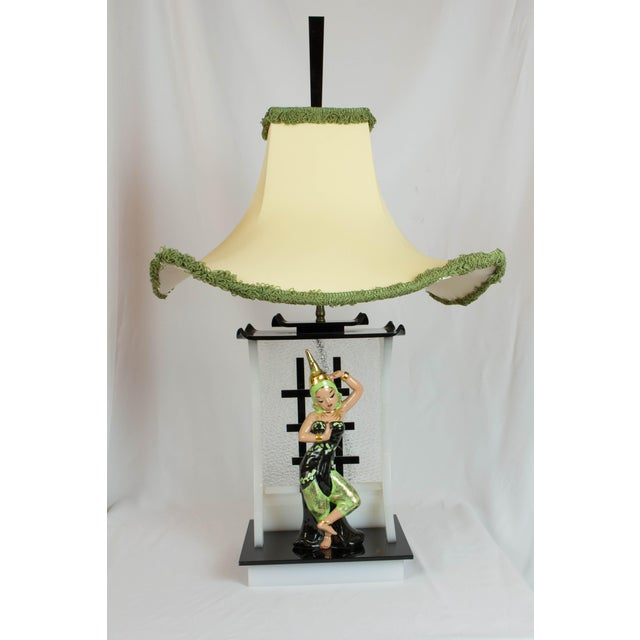 Black Siamese Dancer Moss Lamp For Sale - Image 8 of 8