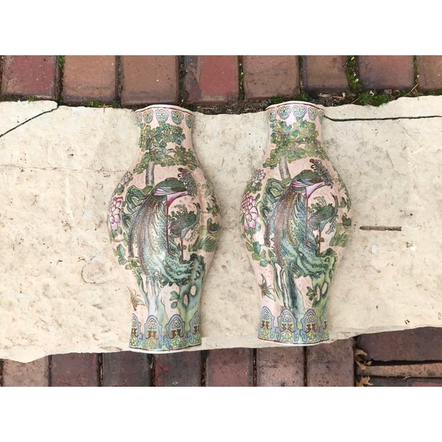 Large Chinoiserie Wall Vases - a Pair For Sale - Image 9 of 9