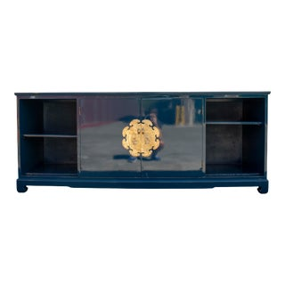 Ming Style Dark Blue Credenza For Sale