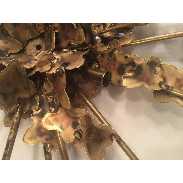 Metal Tom Greene for Feldman Brutalist Torch Cut Wall Light Sconce For Sale - Image 7 of 10