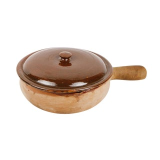 1960s Vallauris French Terracotta Handled Base Pottery Cookware With Glazed Lid For Sale