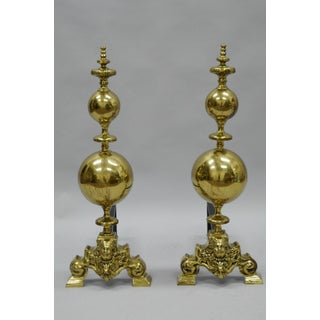 Brass Cannonball Andirons - A Pair Preview