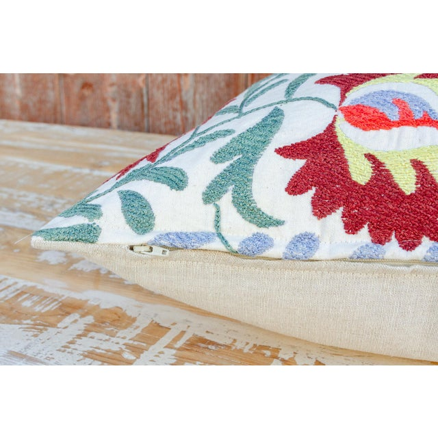 Textile Nalin Coral Floral Suzani Pillow For Sale - Image 7 of 10