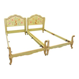 John Widdicomb Italian Style Gilt Paint Decorated Single Beds - a Pair For Sale