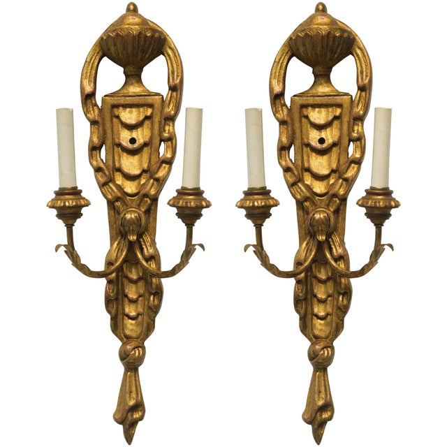 Wood Pair of Italian Giltwood Sconces For Sale - Image 7 of 7