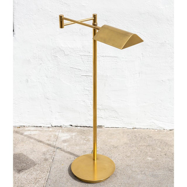 Brass Vintage Brushed Brass Pharmacy Floor Lamp For Sale - Image 8 of 8