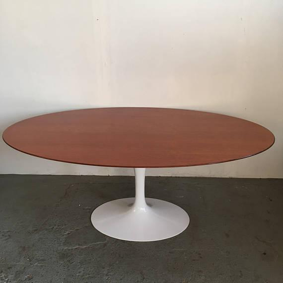 Vintage Knoll Tulip Dining Table with Teak Top - Image 2 of 7
