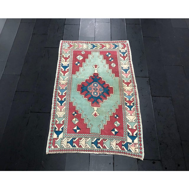 Antique Turkish Anatolian Aztec Decorative Hand Rug - 4′4″ × 6′7″ For Sale - Image 11 of 11