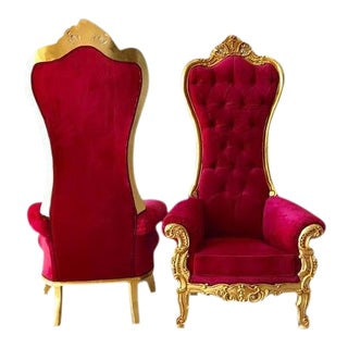 Modern Baroque Throne Chairs - A Pair For Sale
