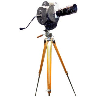 C. 1931 Movie Camera Hand Crank Winder With Wood Tripod For Sale