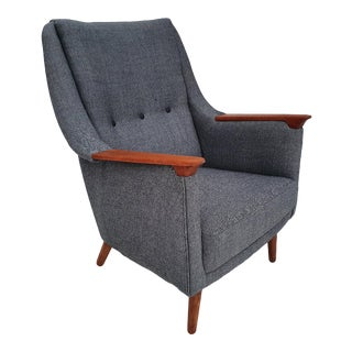 Danish Armchair, 60s, Completely Reupholstered, Wool Fabric For Sale