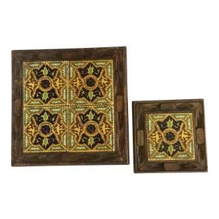 Vintage Arts and Crafts Mexican Tile Trivets - Set of 2 For Sale