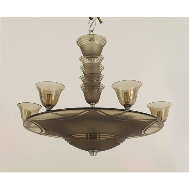 1930s 1930s French Art Deco Smoky Glass Dome Shaped Chandelier For Sale - Image 5 of 5