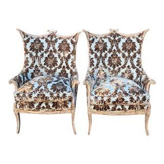 Mid Century Grosfeld House Hollywood Regency Cut Velvet Arm Chairs - A Pair For Sale