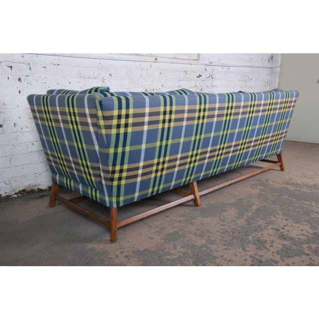 A. Rudin Down Filled Two-Piece Sectional Sofa in Plaid Upholstery For Sale - Image 11 of 13