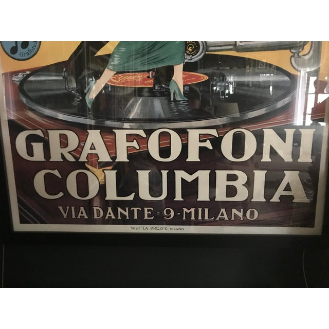 Art Deco Vintage Grafofoni Columbia Poster - Framed For Sale - Image 3 of 9