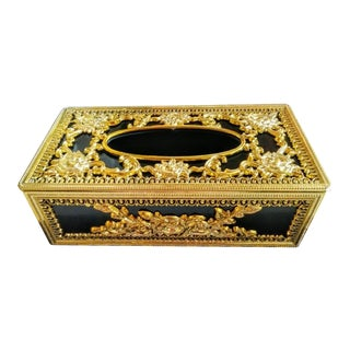Vintage Gold Black Rococo Style Hollywood Regency Tissue Box Cover Holder For Sale