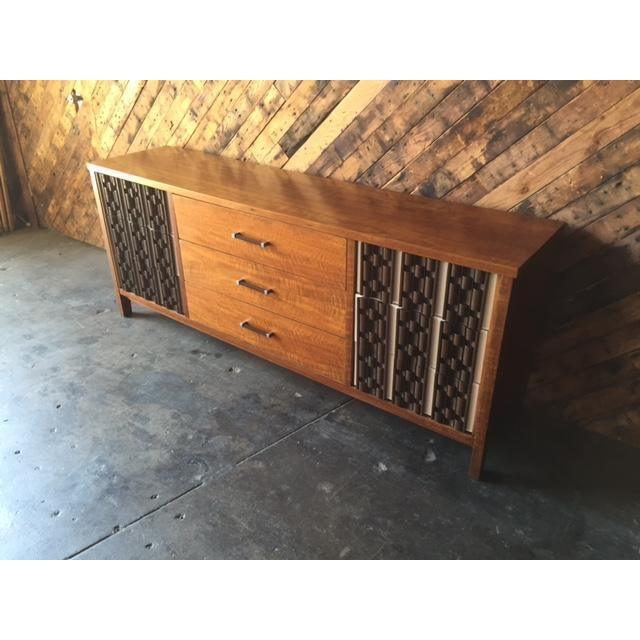 Mid Century Refinished Mahogany Brutalist 9 Drawer Dresser - Image 4 of 7