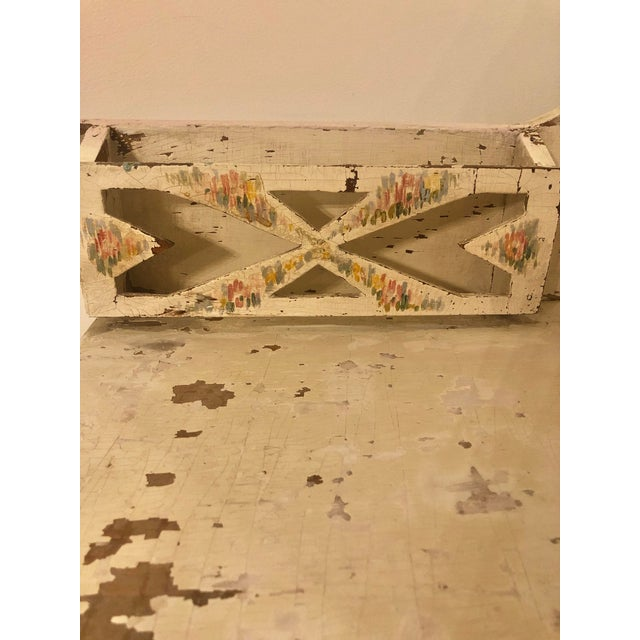 Antique Shabby Chic Hand Painted Floral Writing Desk For Sale - Image 9 of 11