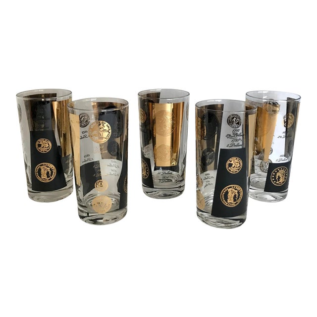 Set of 5 Cera Tall 22k Gold and Black Glasses For Sale