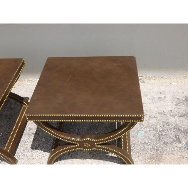 Animal Skin Vintage Post Modern Studded Leather Stretcher Tables- a Pair For Sale - Image 7 of 13