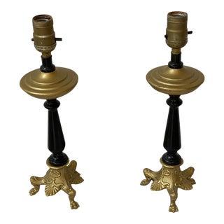 Vintage Art Nouveau Style Black and Gold Gilt Table Desk Boudoir Lamps - a Pair For Sale