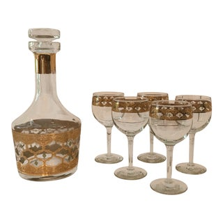 1960s Vintage Culver Valencia Decanter and Wine Glass Set- 6 Pieces For Sale
