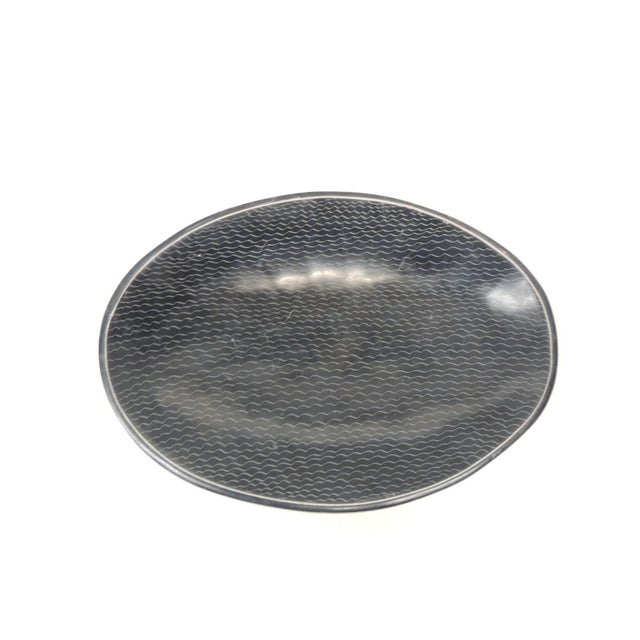 Stone African Besmo Soapstone Black and White Oval Decorative Tray For Sale - Image 7 of 7