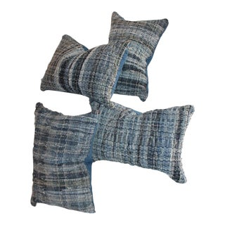 Blue Rag Rug Pillows - Set of 4 For Sale