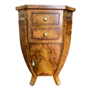 Burl Wood Bombe Night Stand For Sale