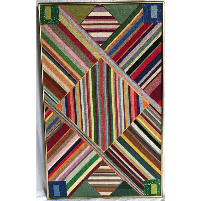 """Large Geometric Colorful Original Needlepoint Art - 36.35"""" x 22.25"""" - Image 2 of 11"""