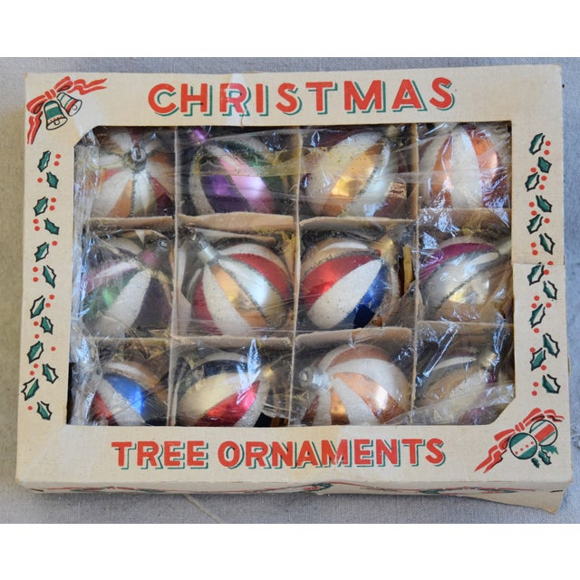 """Set of 12 vintage hand-decorated glass Christmas tree ornaments with box. No maker's mark. Ornaments, 2""""Dia x 2.25""""H; box,..."""