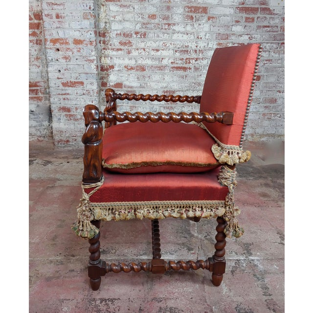Baroque 19th Century Baroque Red Upholstered Walnut Hall Chair For Sale - Image 3 of 8