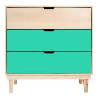Nico & Yeye Kabano Modern Kids 3 Drawer Dresser Maple Mint For Sale