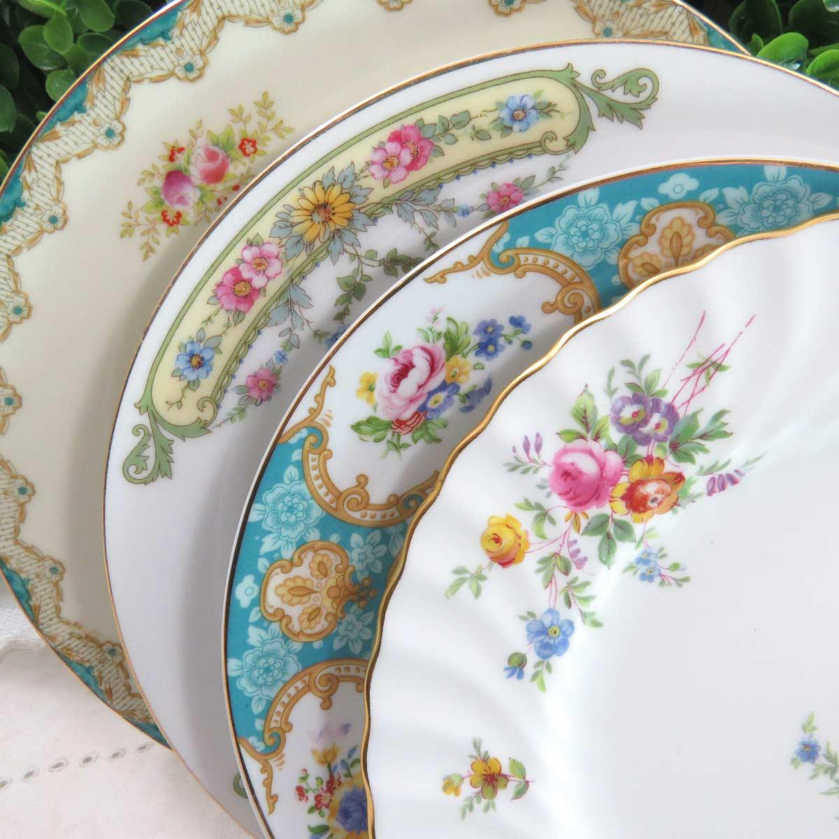 Vintage Mismatched China Dessert Plates - Set of 4 - Image 2 of 8 & Vintage Mismatched China Dessert Plates - Set of 4 | Chairish