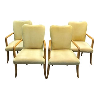 1960s Vintage Milling Road for Baker Leather Chairs- Set of 4 For Sale