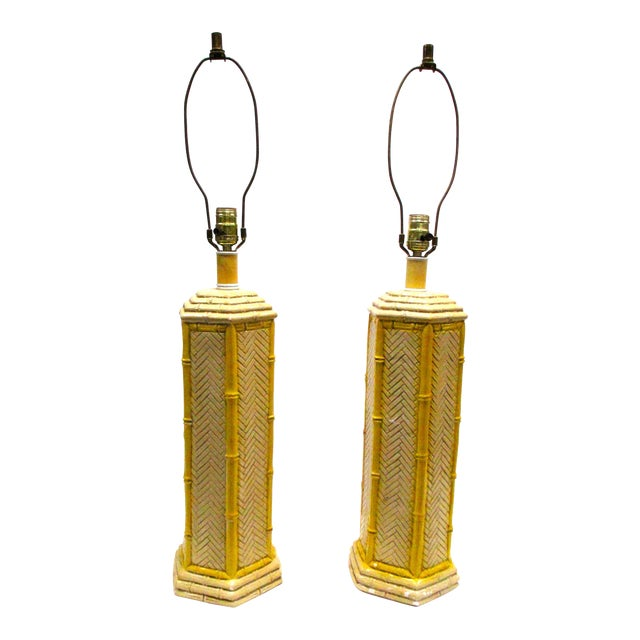 Pr Vintage Yellow Porcelain Faux Bamboo Lamps - a Pair - Image 1 of 4