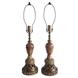 1940s Carved Alabaster Lamps - A Pair For Sale