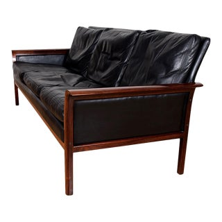 Compact Rosewood Black Leather Sofa by Hans Olsen For Sale